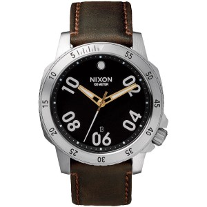 montre en bois originale leather black